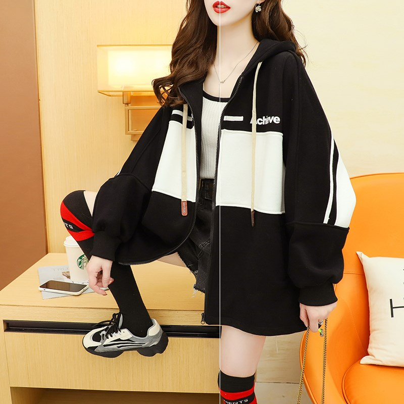 Spring and autumn Hooded Sweater large female autumn 2021 new Korean loose cardigan long sleeve top round neck student
