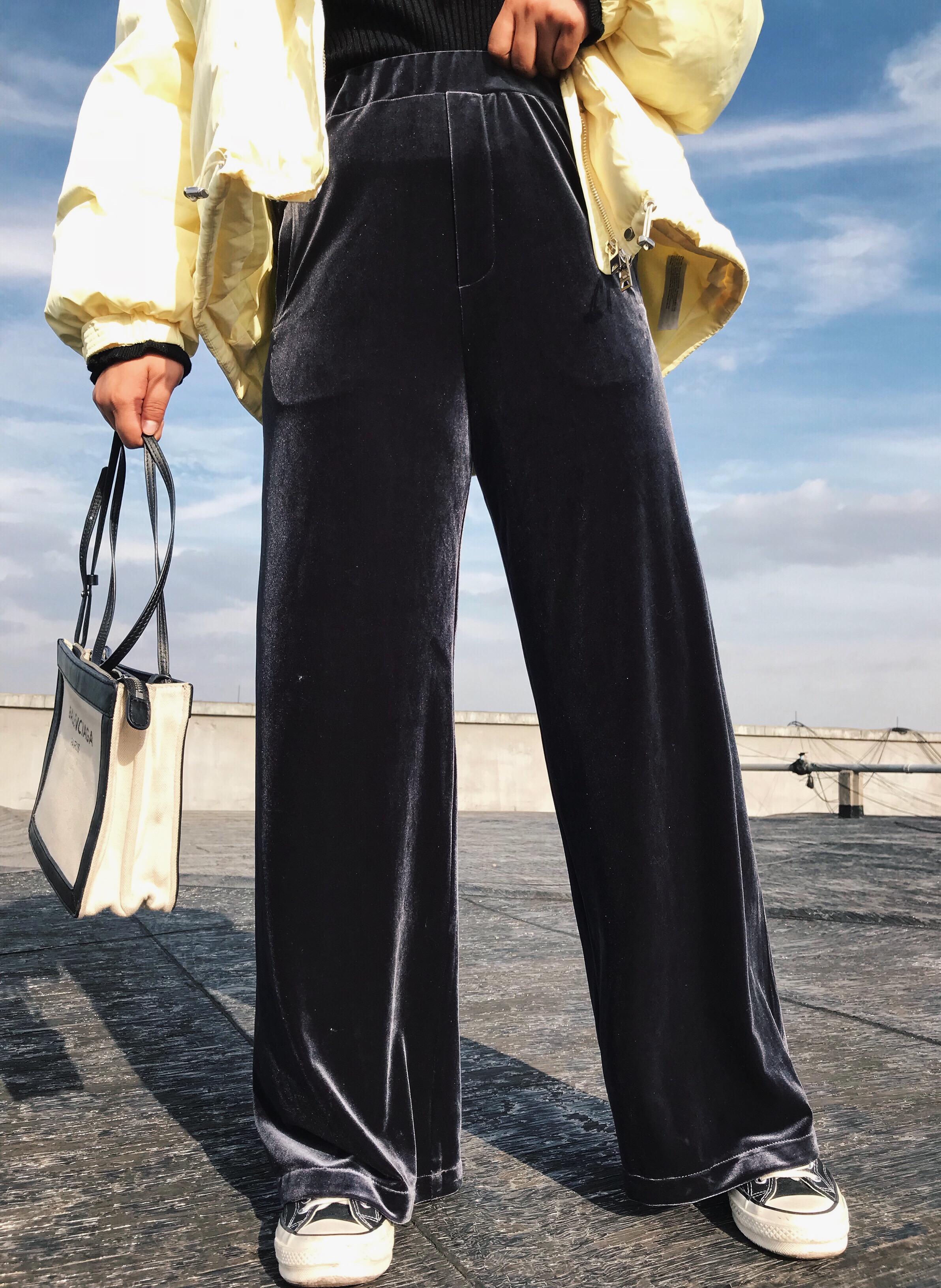 阿周家胖MM两色丝绒长裤2018秋冬微胖大码女装宽松显瘦百搭休闲裤