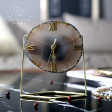 European Creative Agate Stone Clock Modern Living Room Simple Seat Clock Model Room Living Room Bedroom Table Clock Pendulum