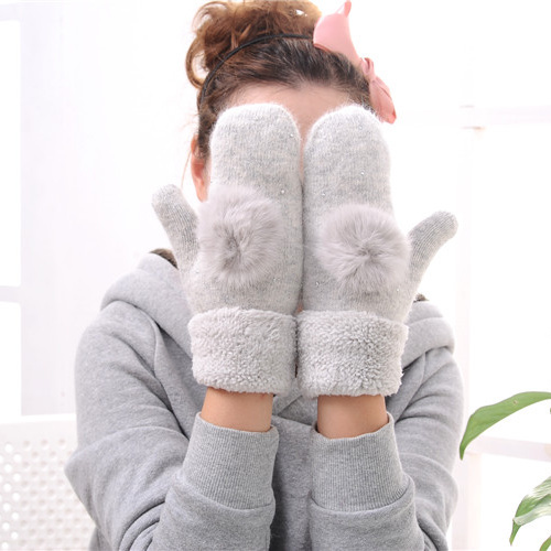 Double layer thickened autumn and winter warm mittens rabbit hair
