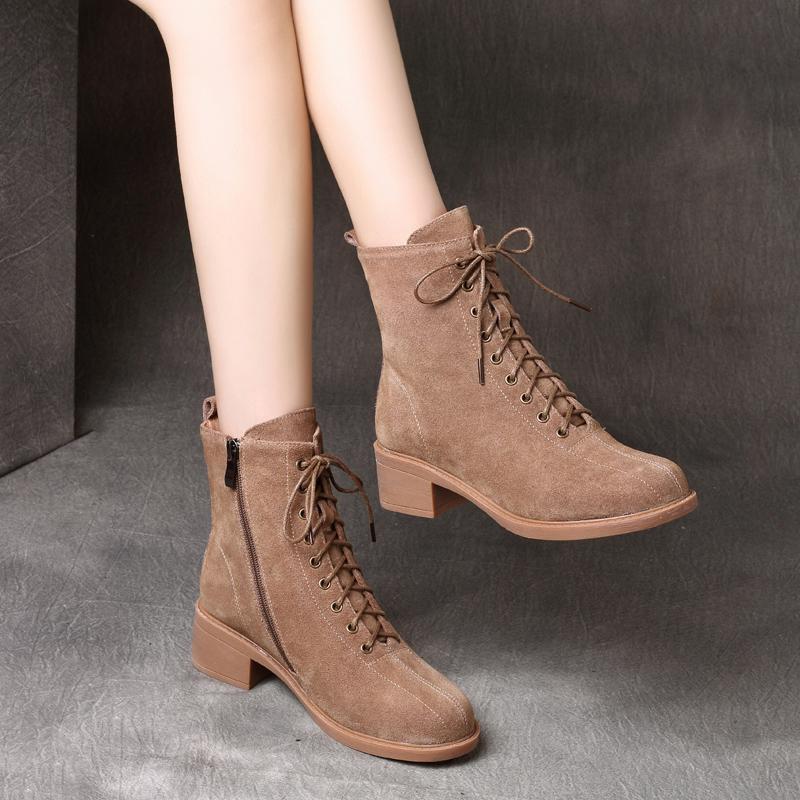 悦丽娜秋冬季真皮休闲短靴子女兆女鞋香阁儿新款正品卡美多马丁靴