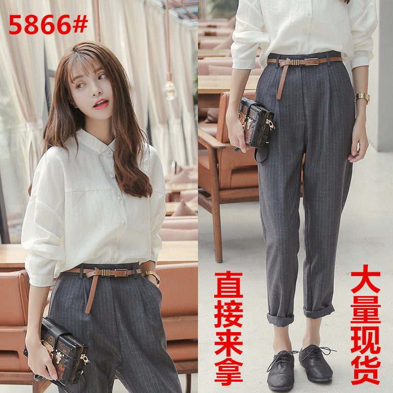 2019 Spring New Style Korean-Style Shirt Set Female Design Niche Western Style Top Feet Cropped Pants Two-Piece Set