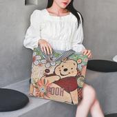 2021年新款 帆布包女夏手提单肩购物刺绣包环保简约百搭女上班通勤