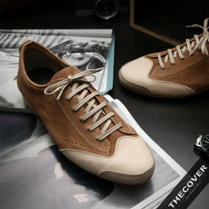 正品 低帮鞋羊皮日常系带皮革休闲皮鞋豆豆 风格拼色拼接轻质