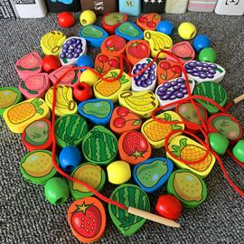 婴幼宝宝木制串珠子儿童益智绕珠穿线早教水果动物穿绳子积木玩具
