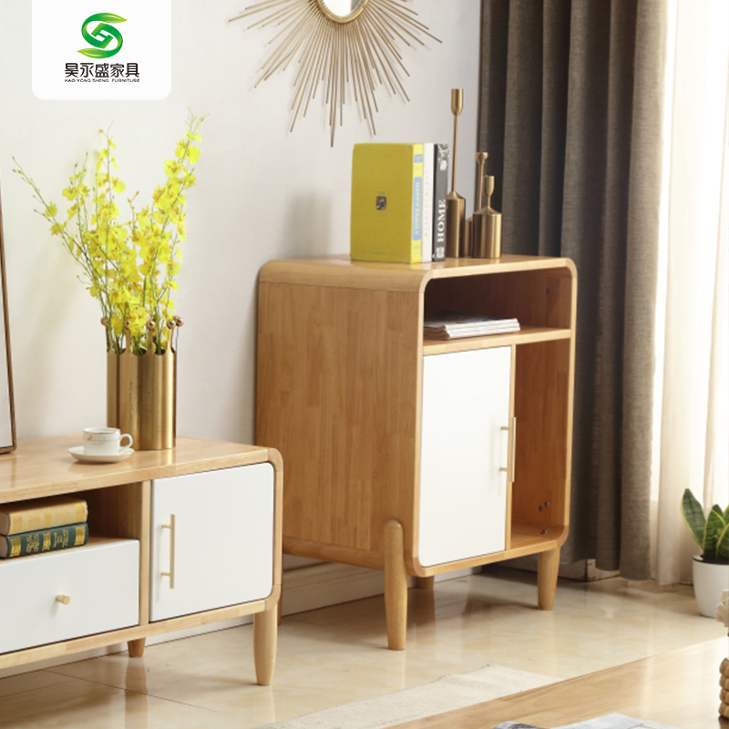 Hainan solid wood furniture Chengmai Old City Jinjiang Nordic TV cabinet side cabinet simple modern log + white small bookcase