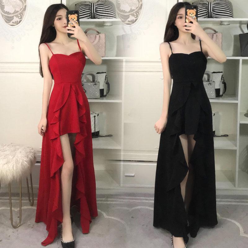 新娘敬酒服2018新款冬季时尚性感吊带红色长款修身结婚晚礼服裙女