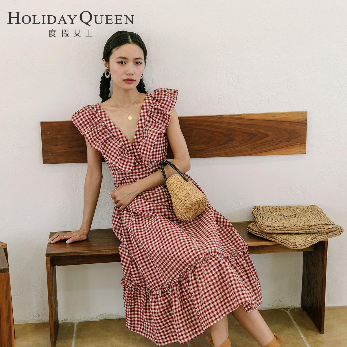 度假女王红白格子长裙性感露背前后V领连衣裙荷叶边大裙摆度假裙