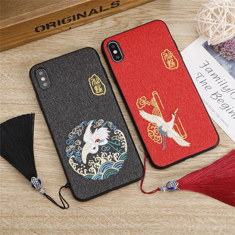 正品保证中国风刺绣苹果7plus手机壳红色喜庆结婚iphone8plus高档重工8P男女