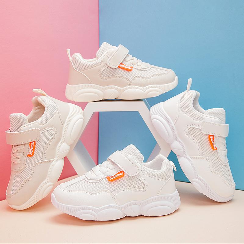 儿童运动鞋学生网鞋软底小白鞋男童透气网面小熊鞋子女童休闲童鞋