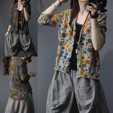 2020夏季新款棉麻五分袖针织开衫女外披复古小花朵宽松百搭上衣