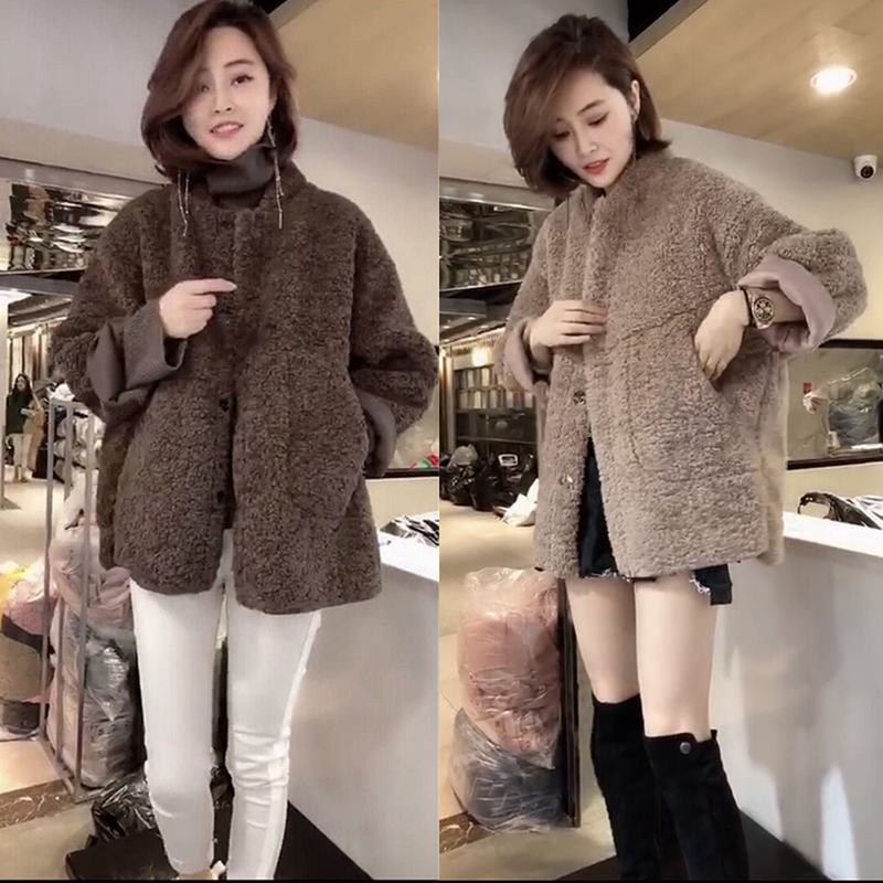 Autumn and winter new small fragrant lamb fur one piece coat women loose and thick Plush Jacket Top