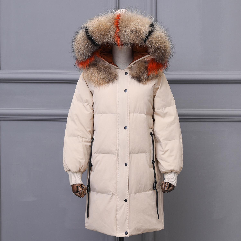 反季清仓火爆电话线款羽绒服女中长款宽松加厚大毛领潮流外套