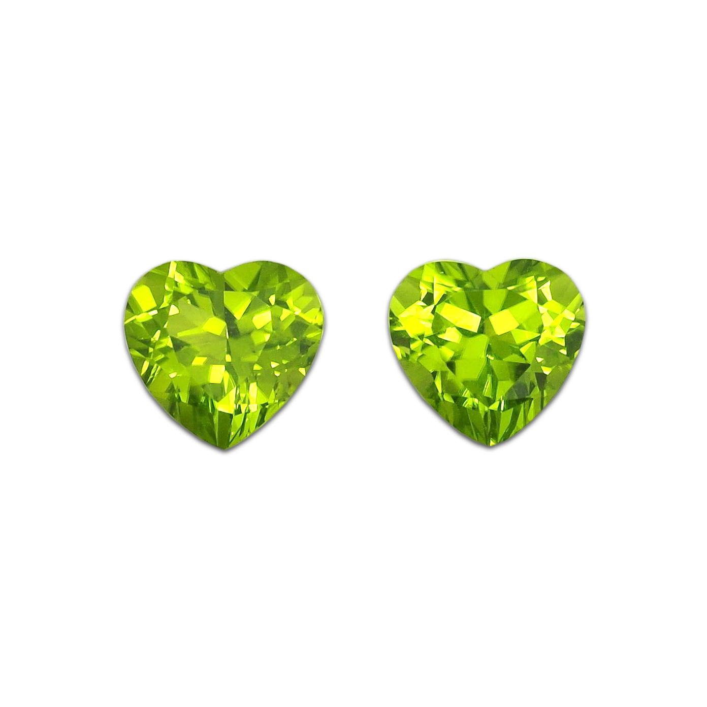 Heart jewelry 9mm heart-shaped high purity olivine bare stone pair can be used as rings, pendants, earrings and belt certificates