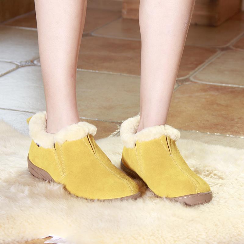 秋冬女鞋加羊毛绒保暖鞋平底皮毛一体短靴真皮居家包跟鞋断码清仓