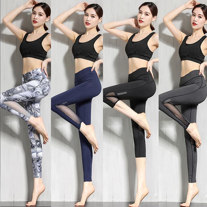 提臀高腰外穿网红健身房夏季印花瑜伽弹力紧身速干运动服九分裤女