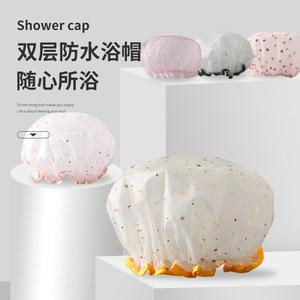 浴帽女防水洗澡帽双层加厚可爱韩国淋浴沐浴帽发膜专用护理头发罩