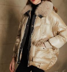2020冬季新款亮面大毛领羽绒服女短款时尚牛仔拼接白鸭绒外套加厚