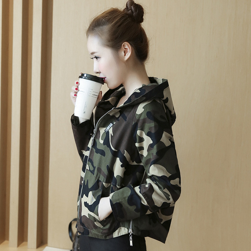 Camouflage coat womens short spring and Autumn New Korean thin fashion brand loose and versatile hooded student jacket camouflage clothing