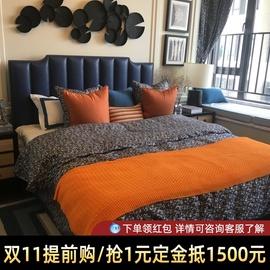 皮床真皮床简约现代美式轻奢床港式网红床ins双人储物实木皮艺床
