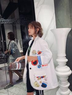 潮牌西装 新款 洋气欧洲站2021春季 女中长款 卡通亮片宽松显瘦bf外套