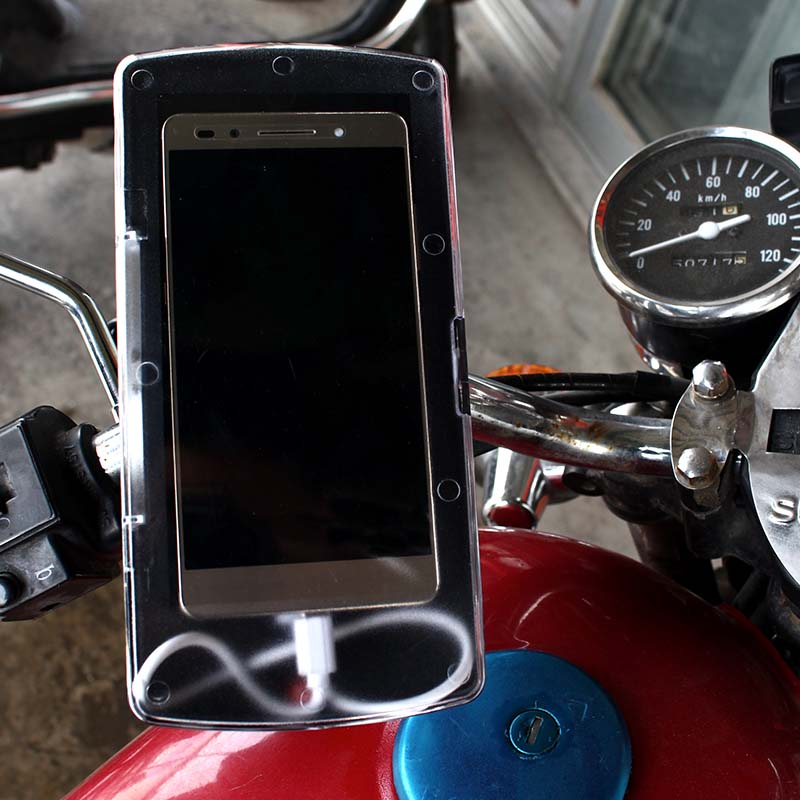 新款摩托車手機支架導航架手機盒防水包防塵帶USB充電器騎行裝備