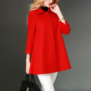 2020年新款红色羊毛呢子大衣女中长款小个子毛呢外套非羊绒短款