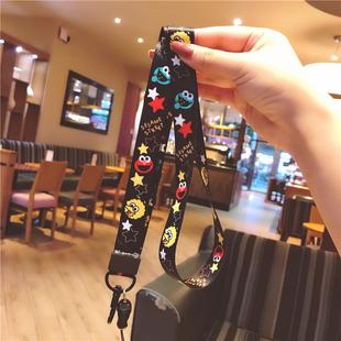 芝麻街卡通可愛黑色手機掛繩掛脖繩寬帶可拆卸不勒脖個性女款通用