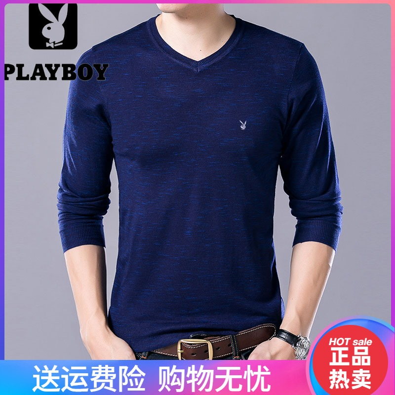 Playboy new autumn and winter mens knitted sweater V-neck thin middle-aged and youth fashion jacquard long sleeve bottoming shirt