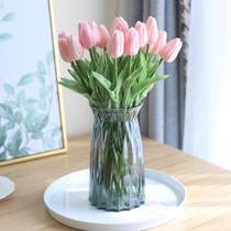 假花擺件仿真花客廳裝飾花藝塑料花束餐桌花擺花絹花單支尤加利葉