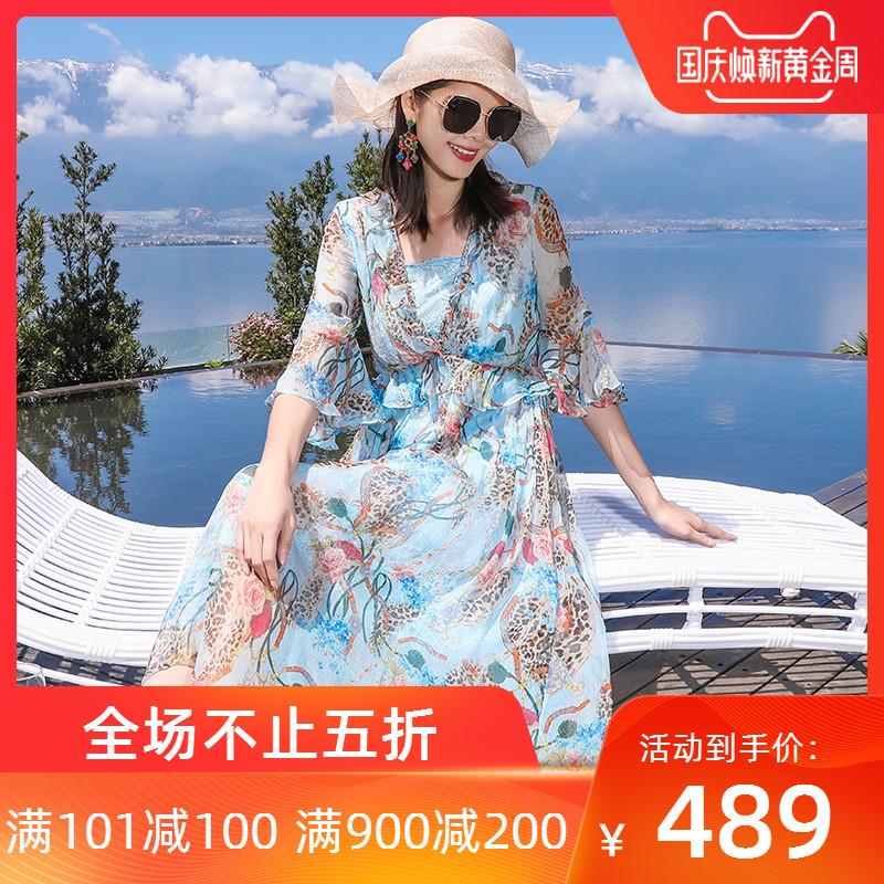 杭州中长款花色大牌v领2019连衣裙589.00元包邮