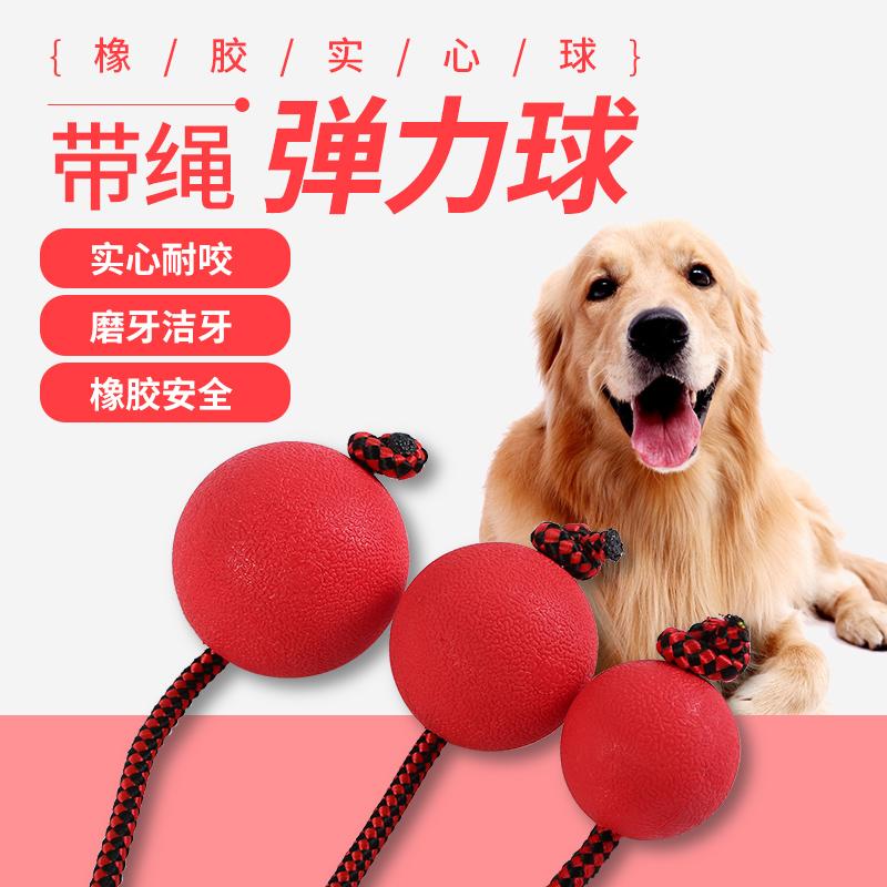 宠物狗狗玩具球耐幼犬咬磨牙逗狗弹力球小红球橡胶实心穿绳训练球