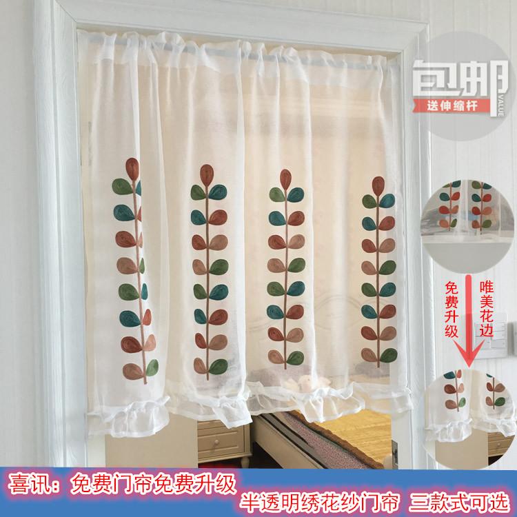 Высококачественный красивый вышивка половина занавес американский простой спальня занавес конечный продукт кофе занавес вид из окна занавес можно настроить