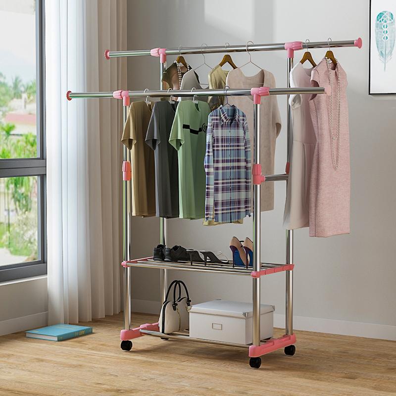 简易晾衣架落地小型双杆折叠室内伸缩家用卧室晒衣架阳台挂衣架子
