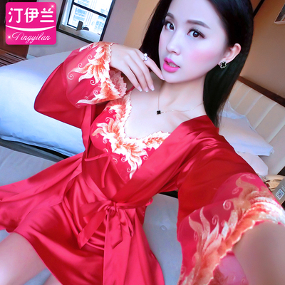 Pajamas women autumn long-sleeved nightdress sexy suspenders two-piece home service spring and autumn big red silk ice silk lace