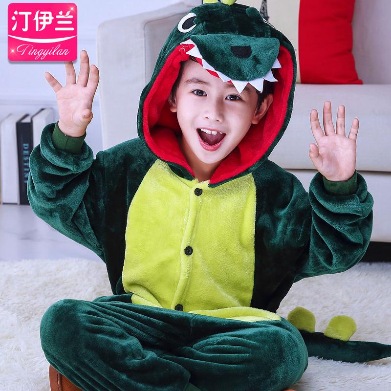 恐龙儿童装卡通连体睡衣动物中大童男女孩秋冬法兰绒珊瑚绒家居服图片