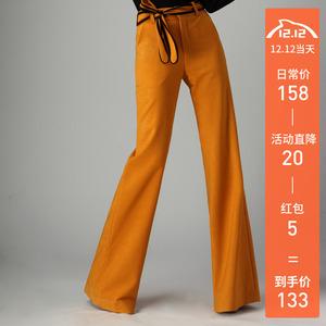 坠感阔腿裤女长裤2019秋冬新款港味高腰直筒裤西装垂感微喇叭裤子