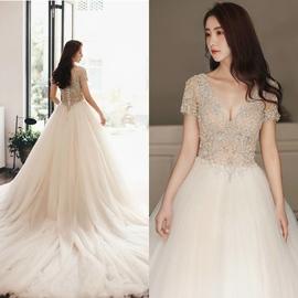 出租正品卡萨布兰卡半袖拖尾结婚婚纱礼服气质显瘦