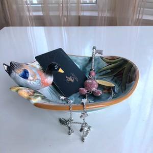 鸭子北欧陶瓷肥皂碟创意玄关钥匙收纳盘小号饰品托盘零食碗小碟子