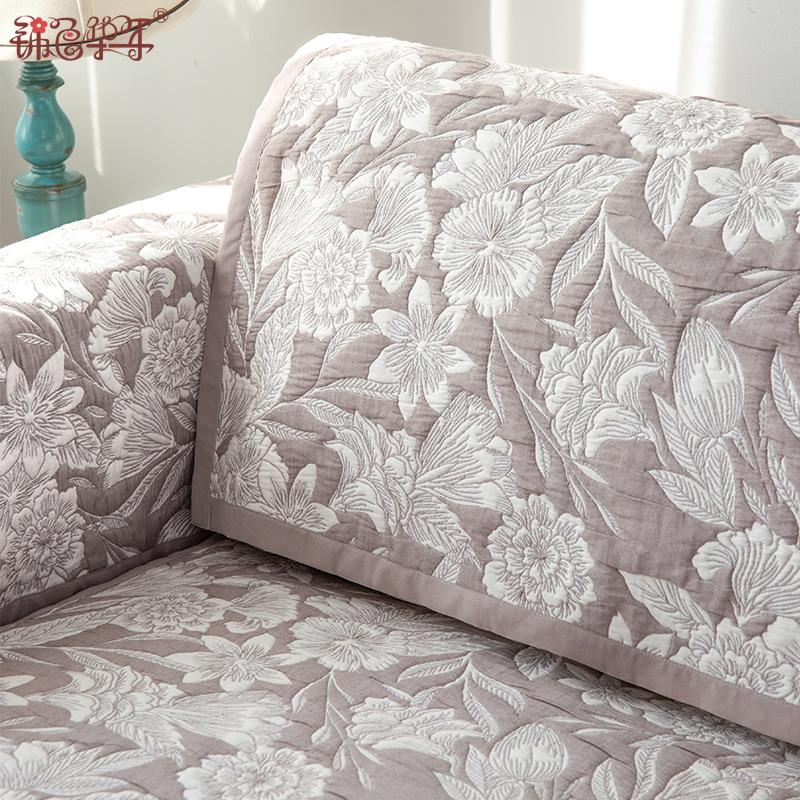 四季通用布艺沙发垫套美式简约棉质提花双面可用组合沙发垫罩定制