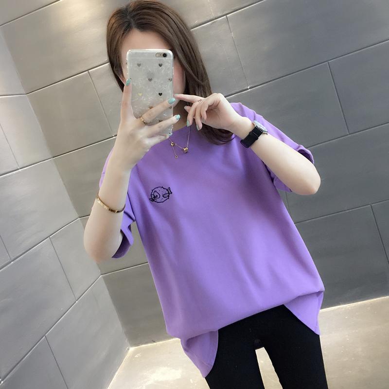 超火cec短袖t恤女装2019新款夏纯棉短款网红ins潮洋气香芋紫上衣热销0件正品保证