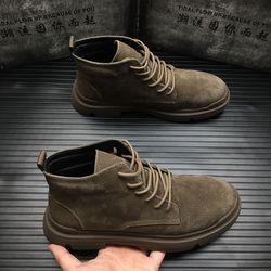秋冬英伦马丁靴男加棉工装靴子真皮战狼靴短靴高帮休闲板鞋沙漠靴