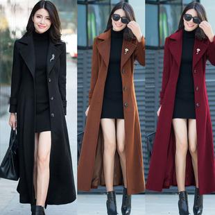 秋冬女欧美复古羊毛呢子大衣超长外套修身显瘦加长款风衣大码女装