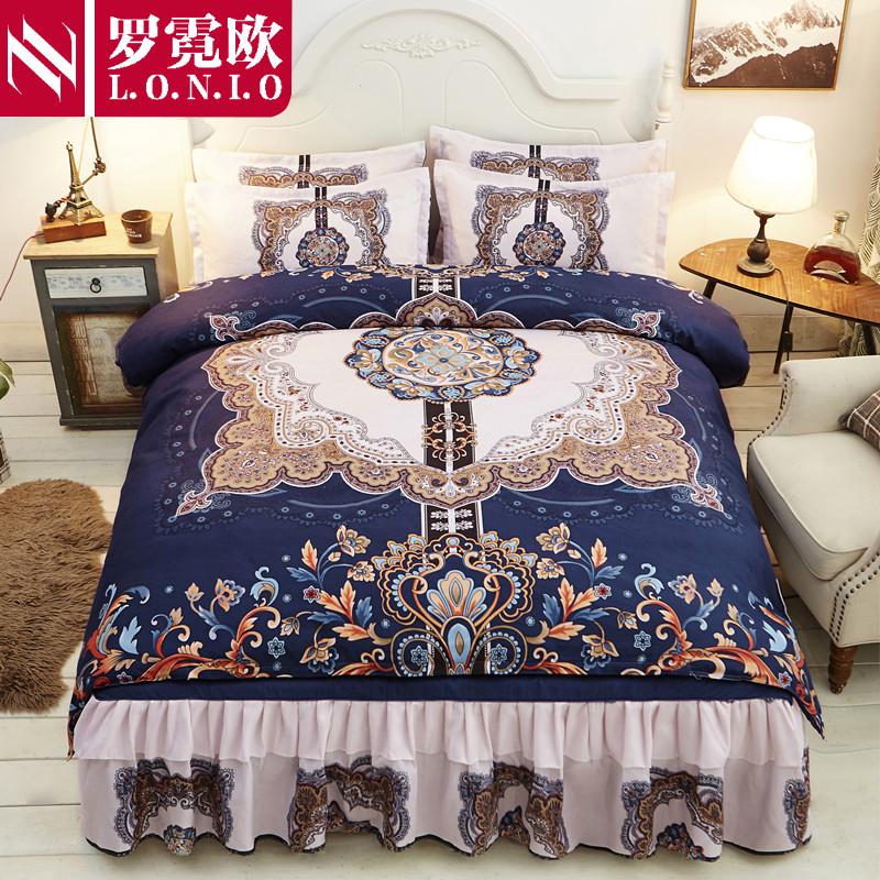 床裙款全棉纯棉四件套纯棉被套床罩 蕾丝床裙1.5m1.8x2米床上用品