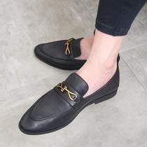 夏季乐福鞋男士真皮小皮鞋尖头休闲低帮一脚蹬韩版潮流发型师鞋子