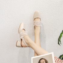 包头凉鞋女粗跟中跟仙女风学生2020新款夏镂空小香风时装凉鞋白色