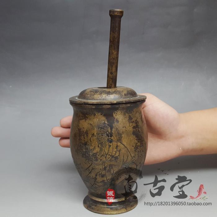 特价仿古纯铜大号捣药罐摆件中药制药器碾磨器药房用品装饰收藏品