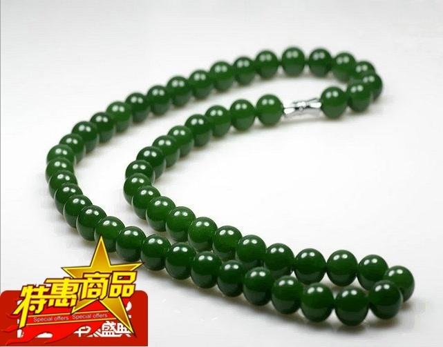 新疆和田玉玉 菠菜绿昆仑和田玉碧玉项链 男女款圆珠项链