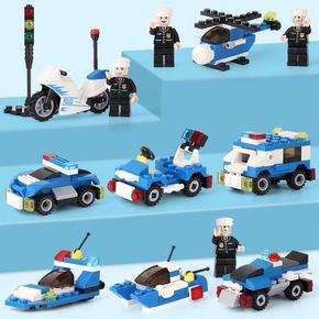 启智乐城市警察工程系列乐pin积木高益智军事消防车6儿童拼装玩具