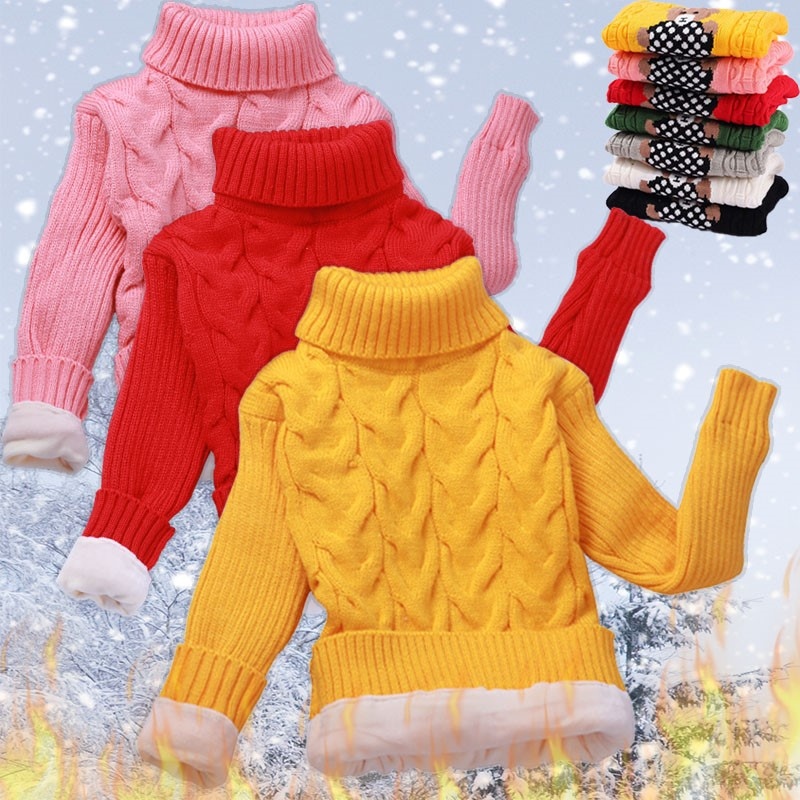 Childrens sweater plush and thickened autumn and winter Pullover high and low collar babys undershirt boys and girls childrens sweater baby